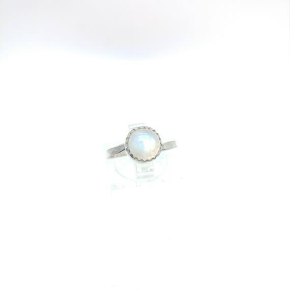 Moonstone Ring   Sterling Silver Ring Sz 7.25   Rainbow Moonstone Ring   Non-Diamond Engagement Ring   Diamond Alternative   Blue Moonstone