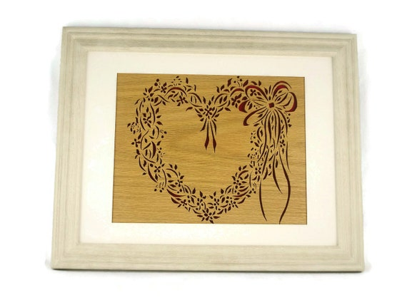 Framed Heart Wreath Wall Art Decor Handmade from Oak Wood