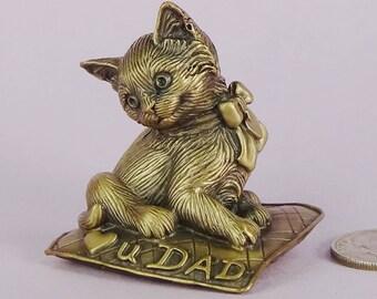 Heart U DAD Bronze Kitten Figurine, Cat Lover Gift for Him, Cat of Mine Small Kitten Sculpture, Handmade Bronze Kitten Figurne,Cat Sculpture