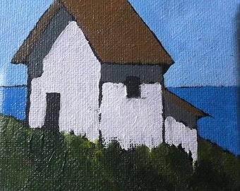 Miniature Impressionist Oil Painting 4x4 Plein Air California North Coast Farm BARN Santa Cruz Landscape Lynne French Art