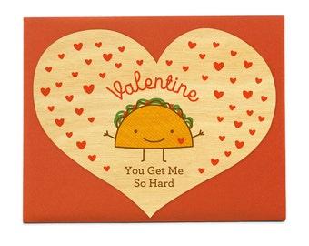 Hard Taco - Real Wood Love Card - Valentine's Day Card - Valentine - Heart Shape Card - Taco - WC1380