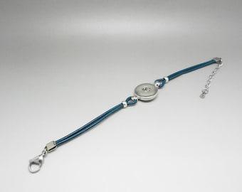 blue leather snap chunk bracelet diy Kit