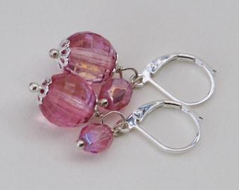 Raspberry Sparkle Earrings - raspberry pink sparkle glass earrings silver simple