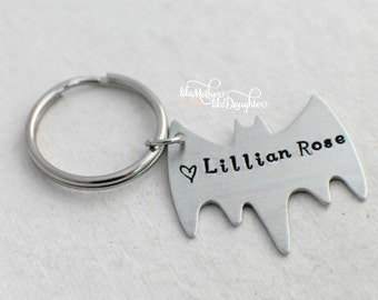 Hand Stamped Keychain - Bat Shaped Keychain - Personalized Keychain for Dad - Kids Names On It - Custom Keychain - Bat Keychain