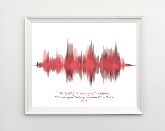 Gift for Dad, Gifts from Kids, Gift for Mom, Personalized Voice Art from Son, Voiceprint, Voice Wave, for Dad, Sound Wave Art