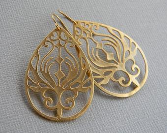 Gold Earrings - Large Gold Bohemian  Earrings- Statement Earrings - Boho Earrings - Gold Dangle Earrings