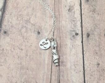 Silverware initial necklace - silverware jewelry, flatware necklace, cutlery necklace, chef necklace, silverware necklace, flatware pendant
