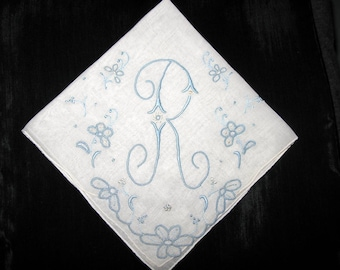Blue Monogram Handkerchief, Wedding Initial Hankerchief, Monogrammed Letter Wedding Something Blue