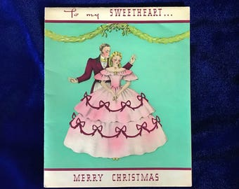 1930's Sweetheart Christmas Greeting Card Mistletoe Southern Belle Romantic