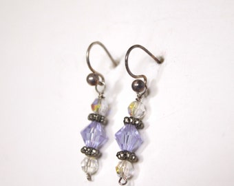 Sterling Earrings with Lavender Crystals