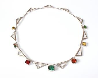 Silver necklace with tourmaline, zircon, citrine, Garnet,