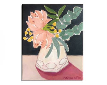 """Floral Wall Decor, Flower paintings, """"Flowers from Ayora"""", Small Painting, Original Art, Still Life Flowers"""