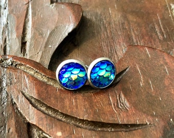 8mm Blue Mermaid Scale Studs