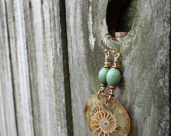 Mermaid's Favorite Turquoise and Gold Ammonite Fossil Dangles