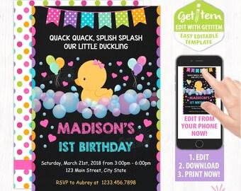 Editable Rubber Duck Birthday Invitation , Rubber Duck Birthday Invitation , Rubber Duck Invitation, RDBI_275