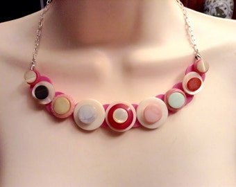 Precious in Pink button necklace
