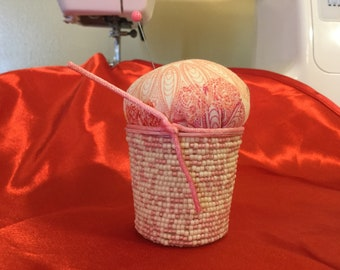 Kcup pincushion with pink flower