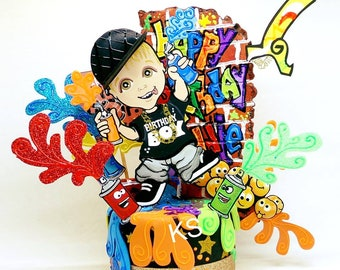 Painting party for kids, Painting party, Arts party cake topper, Painting palette party, hip hop party, custom cake toppers