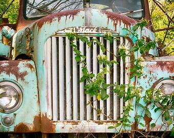 Antique Mack Pickup, Truck Photography, Print or Canvas, Vintage Auto, Automotive Art Photo, Rural, Rustic Decor - Old Trucks & Honeysuckle