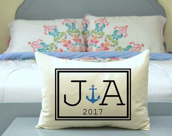 Personalized Couples Anchor pillow, 2nd anniversary cotton boat nautical, valentines, Christmas pillow, boating, anchor