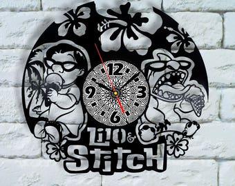 Lilo and Stitch Disney art clock lilo and stitch birthday lilo and stitch gift lilo and stitch wall art stitch wood decor costume cosplay