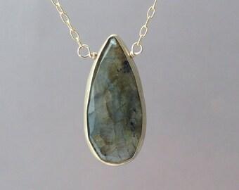 Labradorite Stone Bezel Set Gold Necklace