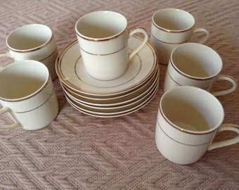 Toscany Demitasse Espresso Cups with Saucers (6) Ivory with gold trim