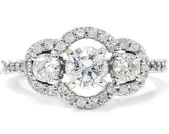 Diamond 1.30CT Diamond Engagement Ring 14K White Gold
