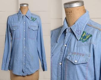 70s Hippie Embroidered Denim Western Button Down Hippie Shirt f7D1cR3l1X