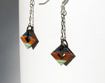 Tribal Earrings Two Blues on Walnut, Small