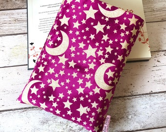 Glitter Moon and Stars Book Cover, Protective Book Buddy, Astrology Book Pouch, Raspberry Pink Book Sleeve, Padded Book Bag, Book Lover Gift