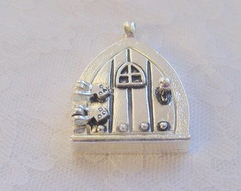 2 Fairy Door Wish Keeper Locket / Pendant Antique Silver 2000 CLEARANCE CLOSEOUT