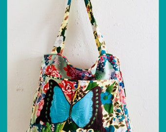 Embroidered Butterfly Tote Bag