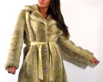Vintage Sexy Faux Fur Ladies Small Size 8 - 10 Long Winter Coat Perfect for the North Country American Hustle Style