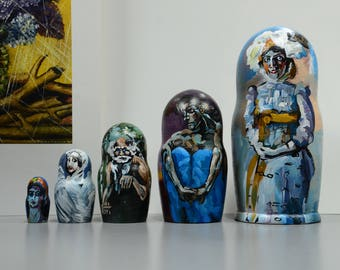 Mikhail Vrubel matryoshka nesting doll,  babushka dolls set of 5 pcs, Handmade, Free Shipping