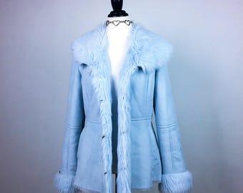 90's Baby Blue Shaggy Faux Fur Trim and Suede Coat  // M - L