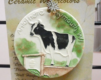 COW   Ceramic-Watercolor Ornament for wall or tree plus free gift wrap, original, 100% handmade