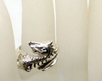 Vintage Sterling Dragon Ring And Earrings Set - Sterling Silver - Size 7 - Sterling Stud Dragon Earrings - Cute Expression