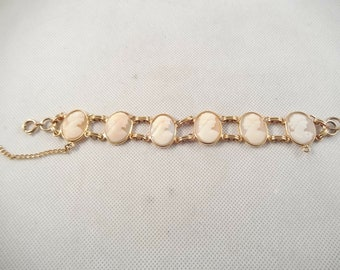 Gold Tone Bracelet with 5 Carved Shell Cameos, with Safety Chain, Excellent Condition
