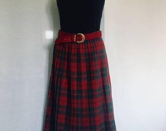 Red Tartan Skirt|Red|White|Yellow and blue|Vintage Pleated skirt