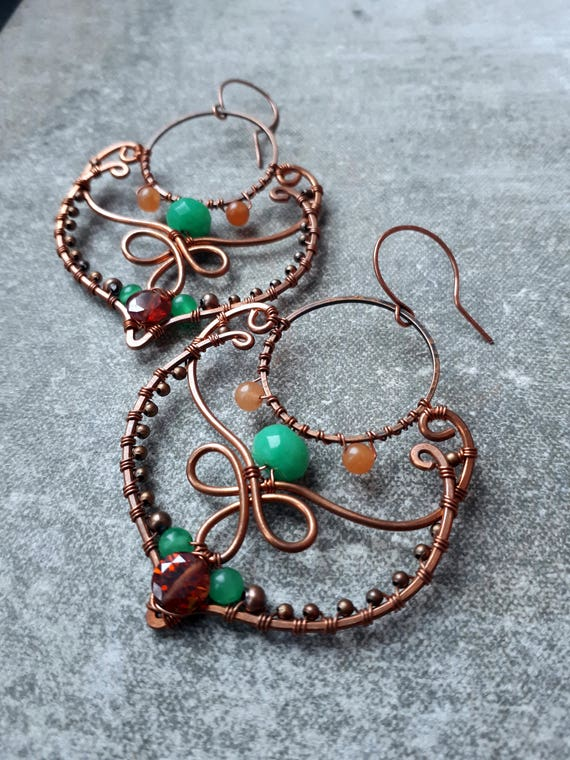Copper Moroccan Earrings Wire Wrapped Earrings Orange