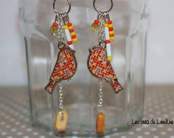 Earrings long bird