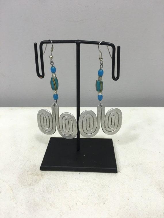 Earrings African Aluminum  Double Coiled Turquoise Blue Chevron Bead Masai Beaded Earrings Handmade Aluminum Women Earrings Tribal E20
