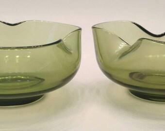 Pair Anchor Hocking Mid-Century Green Glass Dip Bowls / Anchor Hocking / Mid-Century / Green Glass Bowls / Anchor Hocking / Green