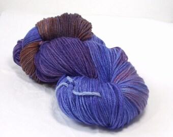 Alpaca Merino  DK  Wool Yarn  Hand Dyed Wool Yarn Multi Colored Variegated Purple Lilac Reddish Brown Merino Alpaca