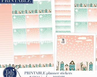 Monthly kit for BIG Happy Planner. January month view planner stickers PRINTABLE kit with houses, snow town. Instant digital download.