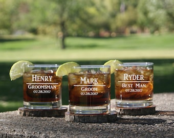 Personalized Whiskey Glasses / Groomsmen Gifts / Best Man Gift / Rocks Glasses Personalized / Engraved / Custom Etched Glasses / 16 DESIGNS