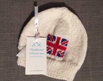 Baby hat//Handknitted//Made to Order//union jack/British souvenir//Made in London//baby beanie//cashmerino