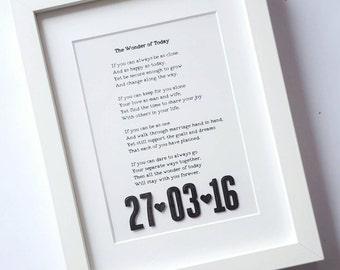 Song Lyrics Art, 3d date, framed song lrics, wedding vows, first dance song, your song, anniversary gift, wedding gift, 1st Anniversary Gift