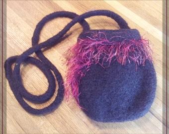 Felted wool shoulder bag with beautiful eyelash fringe woven in.